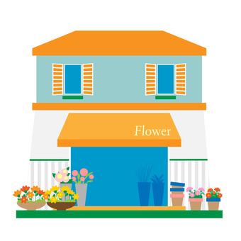Illustration of florist and flower shop