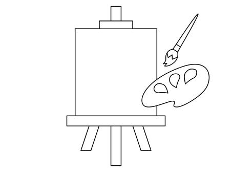 畫架,畫筆和調色板(畫線)