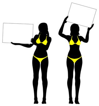 Silhouette of a bikini with a board_04