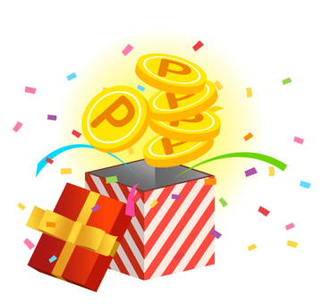 Gifts · coins · points (red stripes