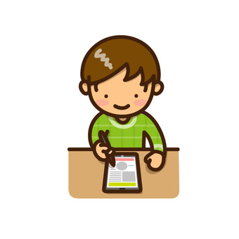 A boy studying with a tablet device