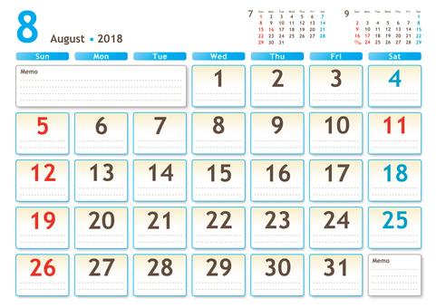 2018年カレンダー 8月