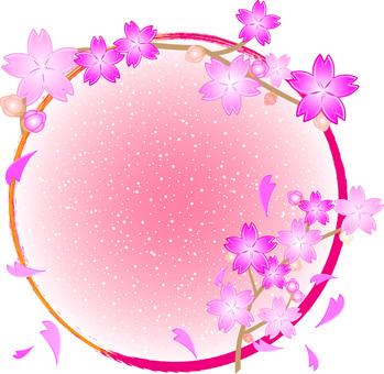 Cherry tree decoration round frame 02