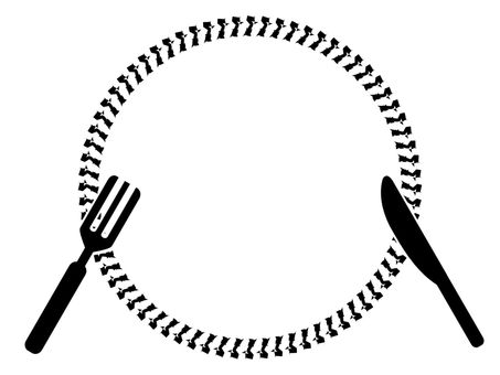 Knife and fork and dish No.01
