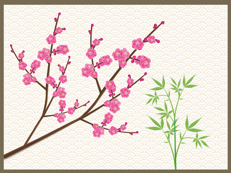 Japanese style illustration of plum and bamboo shoots 1