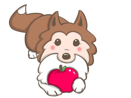 사과를 가진 개