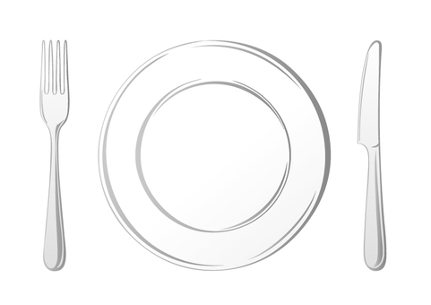 White plate and fork & knife
