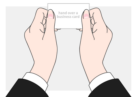 [Parts separately] hand passing the business card