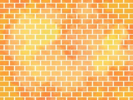 磚水彩背景004橙色