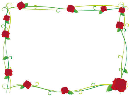 The decorative frame of the rose flower