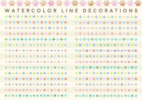 Watercolor touch decoration line set