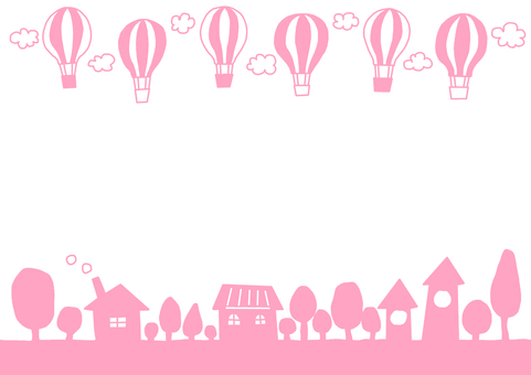 Pink balloon flying city