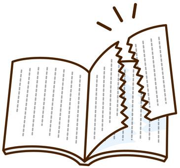 책의 페이지가 찢어진