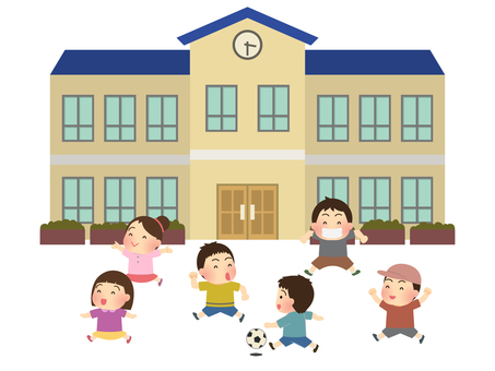 Illustration of children playing in the schoolyard