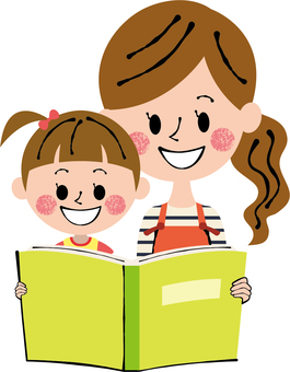 Parents and girls mothers girls reading books yellow green