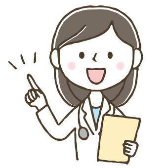 Cute female doctor pointing / hand drawn