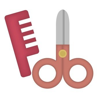 Scissors and comb, red