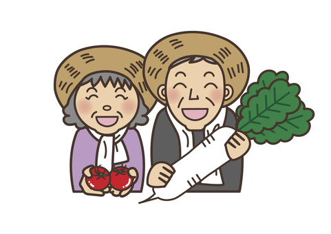 Radish and tomato and farmer's couple