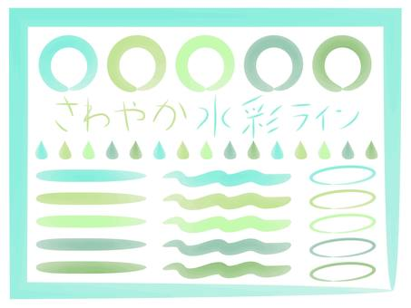 Refreshing green watercolor line
