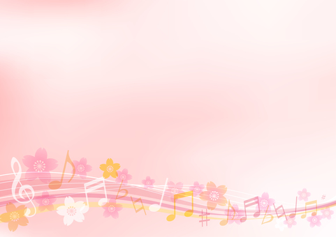 Pink cherry and musical notes background material frame border