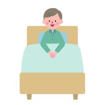 침대에 앉아 할아버지