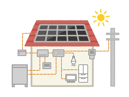 Illustration of solar power generation and storage battery structure