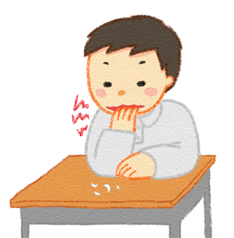 A boy chewing a hyperactive nail