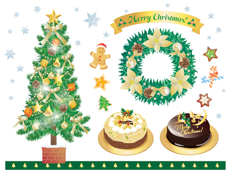 Set of cakes with tree and wreath gold