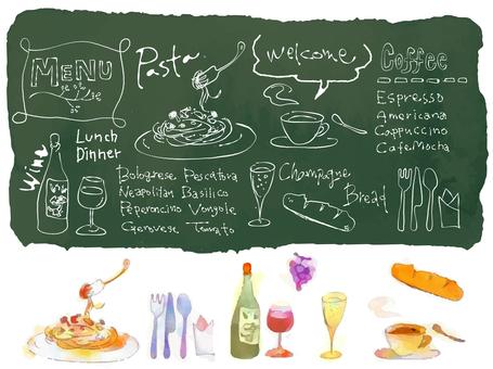咖啡廳風格的插圖的粉筆藝術