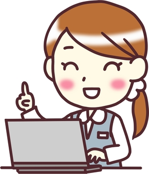 【Female OL uniform】 oblique _ PC finger stab _ half