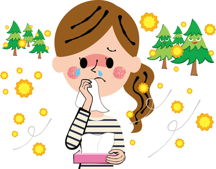 Hay Fever Box Tissue Woman wiping tears and runny nose