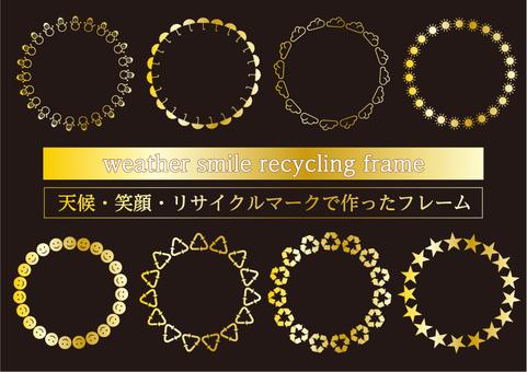 金色天候・リサイクル・笑顔マークフレーム
