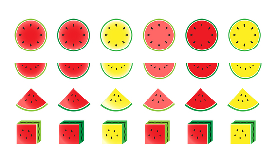 Watermelon summer food icon set