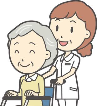 Middle-aged female nurse white coat-246-Bust