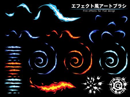 Light and flame handwriting effect-like art brush