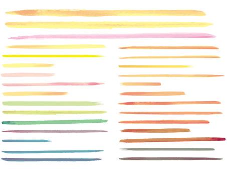 Watercolor drawing Handwritten line drawing Material set Pastel
