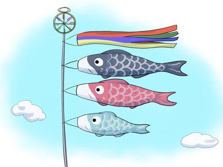 鯉のぼり(背景付き)