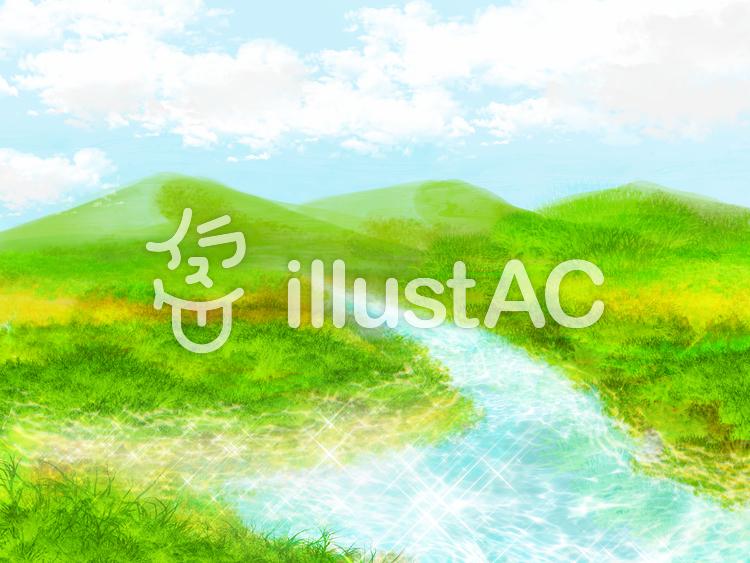 水辺の遠景のイラスト
