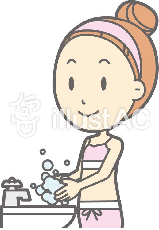 女性下着a-手洗い-バストのイラスト