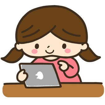 Illustration of a girl who uses a tablet