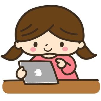 Illustration of girl using a tablet