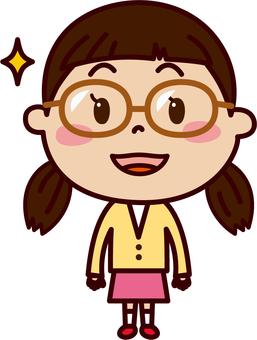 여자 미소 안경