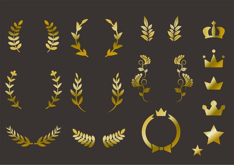 賞 葉っぱ 飾り 囲み 月桂樹
