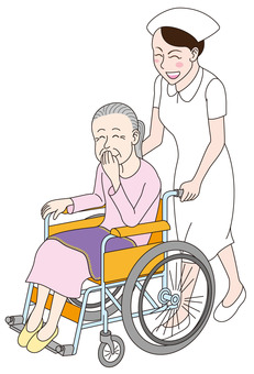 Nurse and old woman in wheelchair