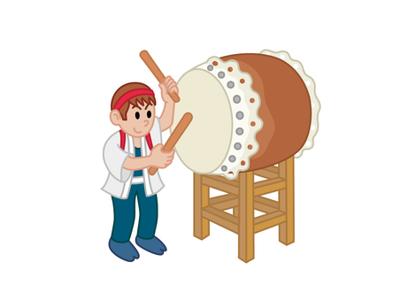 Young man hitting the big drum
