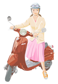 A woman riding a scooter