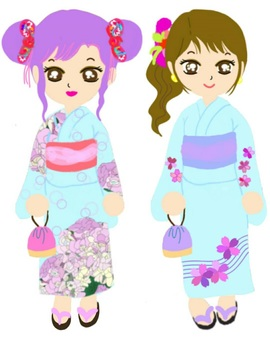 Yukata Girls Festival Summer Friends Two people