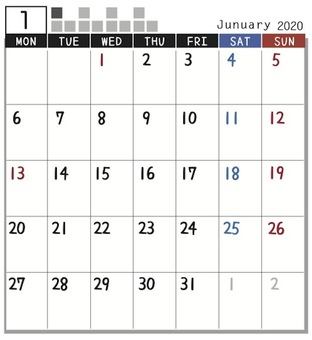 2020 Calendar block January