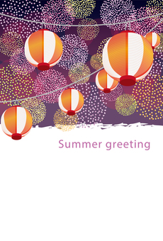 Postcard with firework-like polka dots and lanterns