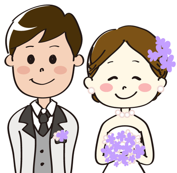 Bride and groom purple